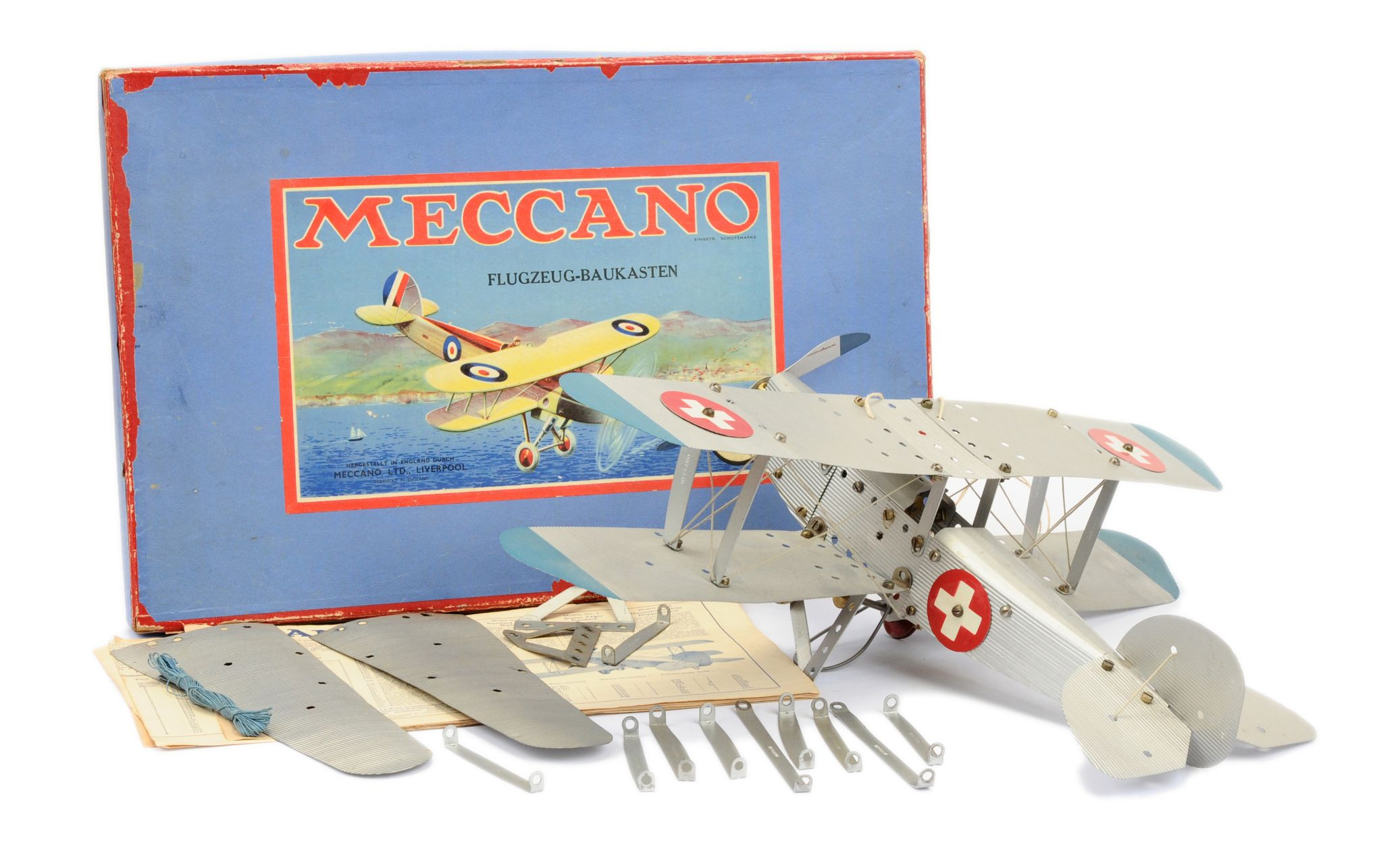 Meccano Constructor made up model of a Biplane Aircraft  15th January 2020 Lot 662